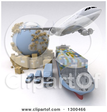 Clipart of a 3d Commercial Airliner Plane Flying over a Big Rig, Cargo Ship and Delivery Vans by a Globe and Packages on White 2 - Royalty Free Illustration by Frank Boston