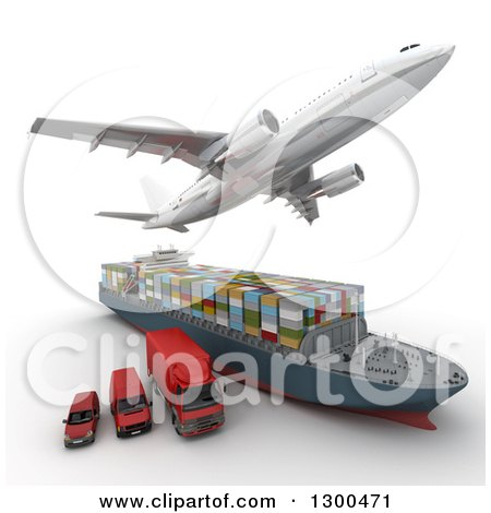 Clipart of a 3d Commercial Airliner Plane Flying over a Big Rig, Cargo Ship and Red Delivery Vans on White - Royalty Free Illustration by Frank Boston