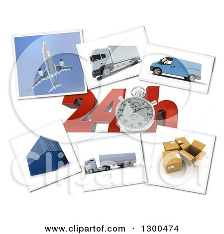 Clipart of a 3d Stopwatch and 24 Hour Speed Notice with Pictures of Transport and Logistics Items on White - Royalty Free Illustration by Frank Boston