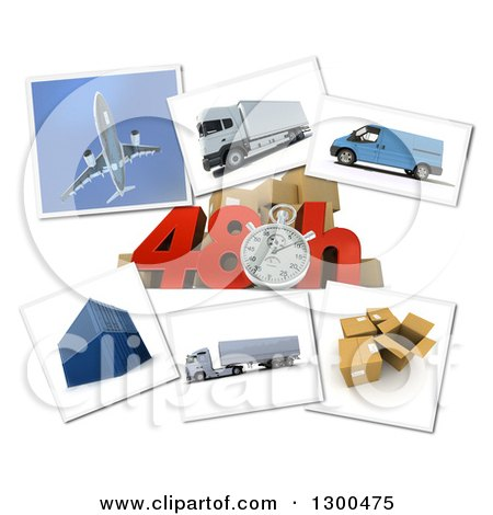 Clipart of a 3d Stopwatch and 48 Hour Speed Notice with Pictures of Transport and Logistics Items on White 2 - Royalty Free Illustration by Frank Boston