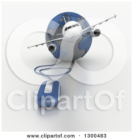 Clipart of a 3d Commercial Airliner Plane over a Blue and Gray Grid Globe with a Computer Mouse 3 - Royalty Free Illustration by Frank Boston