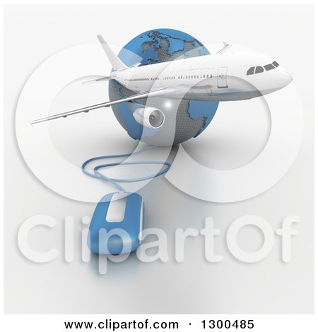Clipart of a 3d Commercial Airliner Plane over a Blue and Gray Grid Globe with a Computer Mouse 2 - Royalty Free Illustration by Frank Boston