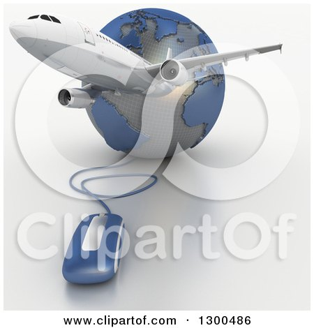 Clipart of a 3d Commercial Airliner Plane over a Blue and Gray Grid Globe with a Computer Mouse - Royalty Free Illustration by Frank Boston