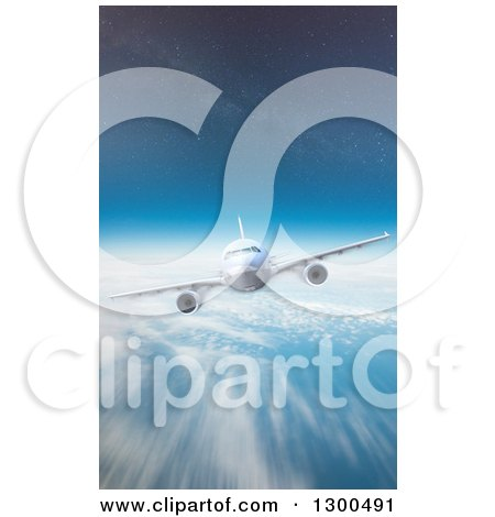 Clipart of a 3d Commercial Airliner Plane Flying over a Blurred Cloudy Earth and Stars in the Sky - Royalty Free Illustration by Frank Boston