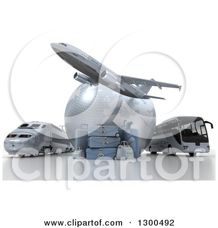 Clipart Of A 3d Commercial Airliner Plane Over A Blue Grid Globe Train Bus And Luggage On White Royalty Free Illustration