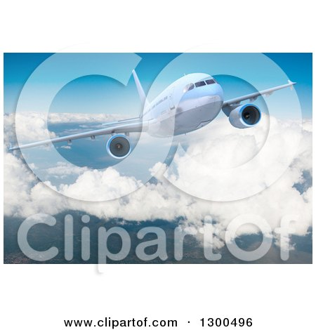 Clipart of a 3d Commercial Airliner Plane Flying over Clouds 6 - Royalty Free Illustration by Frank Boston