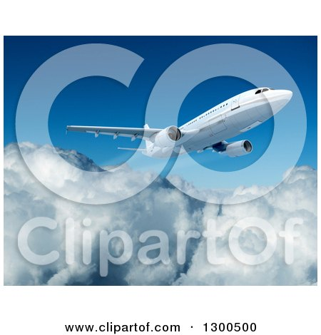 Clipart of a 3d Commercial Airliner Plane Flying over Clouds 3 - Royalty Free Illustration by Frank Boston