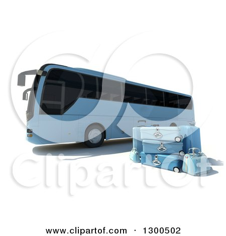 Clipart of a 3d Blue Coach Bus with Matching Luggage, on White - Royalty Free Illustration by Frank Boston
