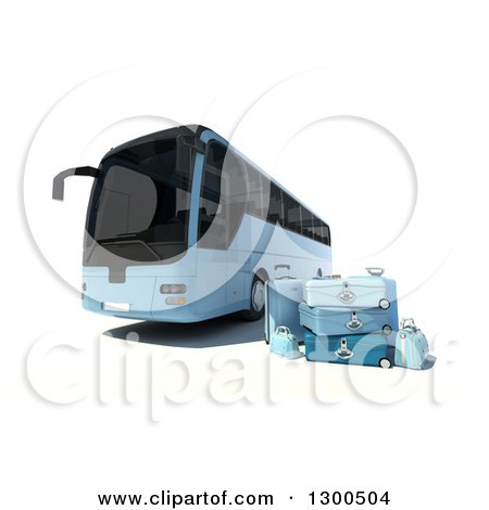 Clipart of a 3d Blue Coach Bus with Luggage, on White - Royalty Free Illustration by Frank Boston