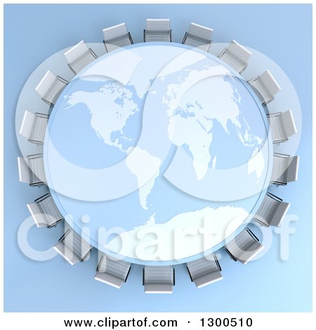 Clipart of a 3d World Map Table Encircled with Meeting Room Chairs on Blue - Royalty Free Illustration by Frank Boston