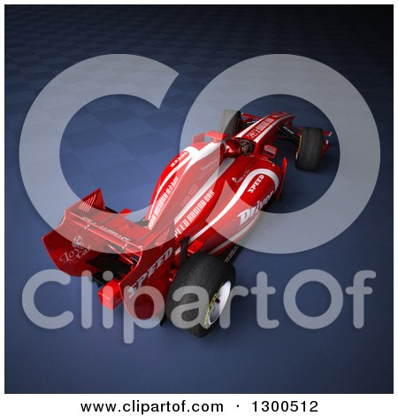 Clipart of a 3d Red Race Car over Dark Blue and Fading Checkers - Royalty Free Illustration by Frank Boston