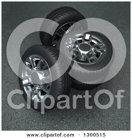 Clipart of 3d Car Tires and Rims on Pavement - Royalty Free Illustration by Frank Boston