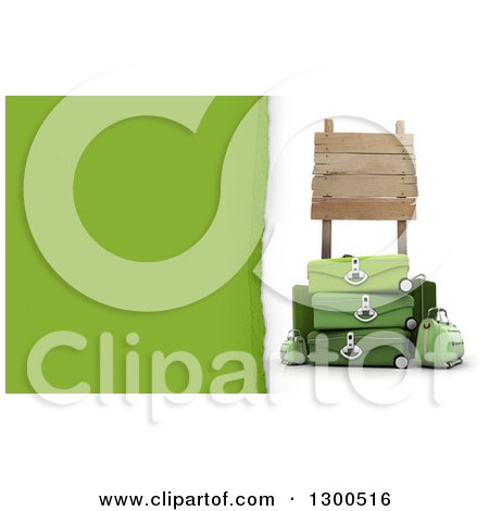 Clipart of a 3d Pile of Green Travel Luggage Under a Wooden Sign on White, with Torn Paper Text Space - Royalty Free Illustration by Frank Boston