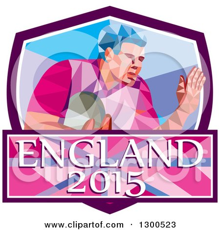 Clipart of a Retro Low Poly Geometric Rugby Player in a Purple White and Blue Shield with England 2015 Text - Royalty Free Vector Illustration by patrimonio