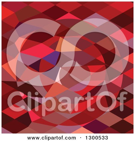 Clipart of a Low Poly Abstract Geometric Background of a Red Rising Sun - Royalty Free Vector Illustration by patrimonio