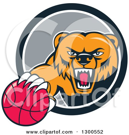 Clipart of a Cartoon Roaring Angry Grizzly Bear with a Basketball Emerging from a Gray and White Circle - Royalty Free Vector Illustration by patrimonio