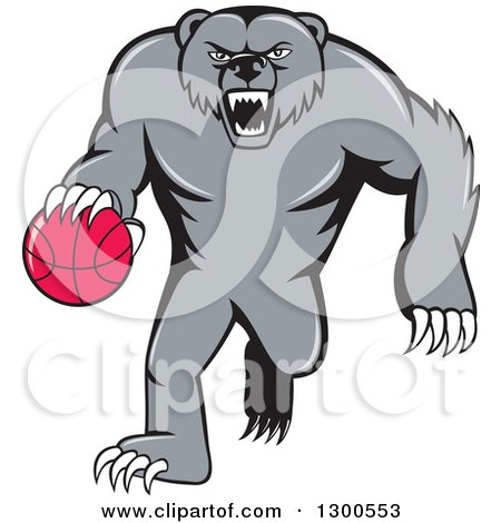 Clipart of a Cartoon Roaring Angry Grizzly Bear Dribbling a Basketball - Royalty Free Vector Illustration by patrimonio