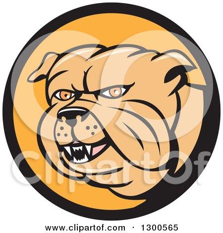 Clipart of a Cartoon Tough Bulldog in a Black and Orange Circle - Royalty Free Vector Illustration by patrimonio