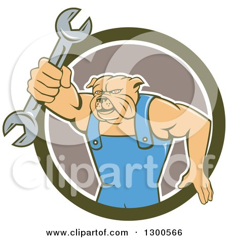 Clipart of a Cartoon Bulldog Mechanic Holding out a Wrench and Emerging from a Green White and Taupe Circle - Royalty Free Vector Illustration by patrimonio