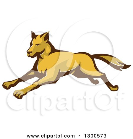 Clipart of a Retro Running Wild Dog or Wolf - Royalty Free Vector Illustration by patrimonio