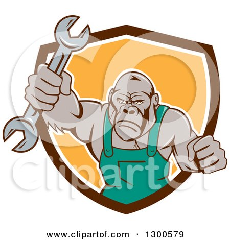 Clipart of a Cartoon Tough Gorilla Mechanic Man Punching with a Wrench and Emerging from a Brown White and Yellow Shield - Royalty Free Vector Illustration by patrimonio
