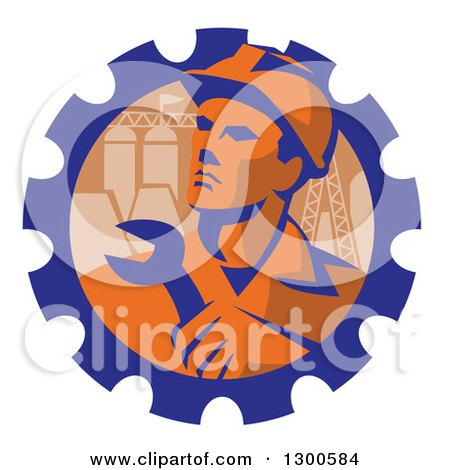 Retro Male Engineer Worker Holding a Wrench over Pylons in a Gear Cog Posters, Art Prints