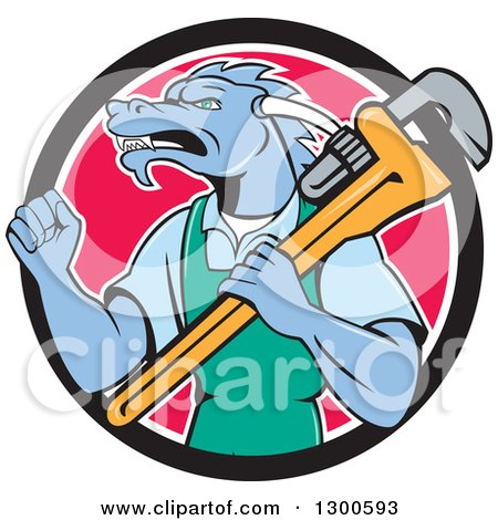 Clipart of a Cartoon Dragon Man Plumber Holding a Monkey Wrench and Doing a Fist Pump in a Black White and Pink Circle - Royalty Free Vector Illustration by patrimonio