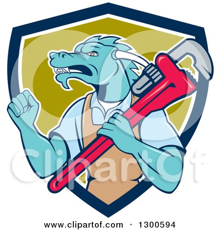 Clipart of a Cartoon Dragon Man Plumber Holding a Monkey Wrench and Doing a Fist Pump in a Blue White and Green Shield - Royalty Free Vector Illustration by patrimonio