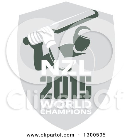 Clipart of a Retro Cricket Player Batsman in a Gray Shield with NZL 2015 World Champions Text - Royalty Free Vector Illustration by patrimonio