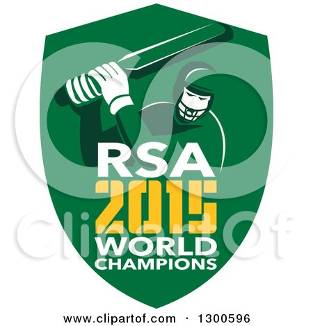 Clipart of a Retro Cricket Player Batsman in a Green Shield with RSA 2015 World Champions Text - Royalty Free Vector Illustration by patrimonio