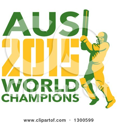 Clipart of a Retro Cricket Player Batsman with AUS 2015 World Champions Text - Royalty Free Vector Illustration by patrimonio