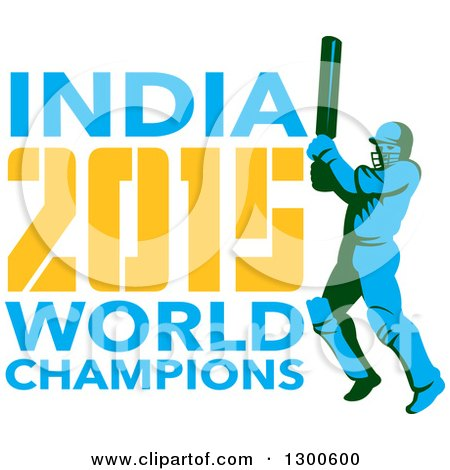 Clipart of a Retro Cricket Player Batsman with INDIA 2015 World Champions Text - Royalty Free Vector Illustration by patrimonio