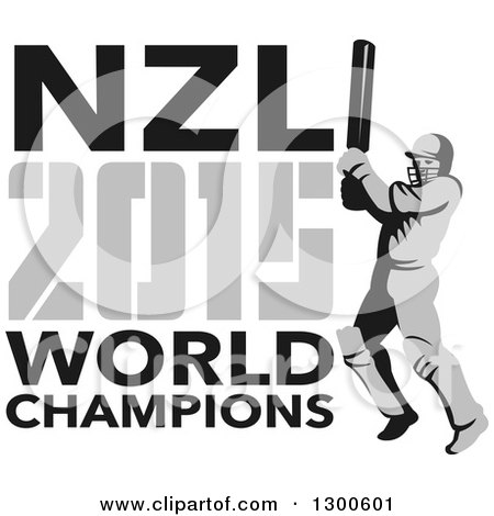Clipart of a Retro Cricket Player Batsman with NZL 2015 World Champions Text - Royalty Free Vector Illustration by patrimonio