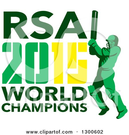 Clipart of a Retro Cricket Player Batsman with RSA 2015 World Champions Text - Royalty Free Vector Illustration by patrimonio