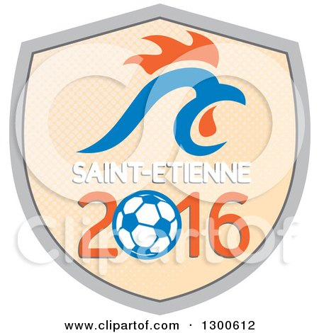 Clipart of a French Rooster Head over Saint Etienne 2016 and a Soccer Ball Shield - Royalty Free Vector Illustration by patrimonio