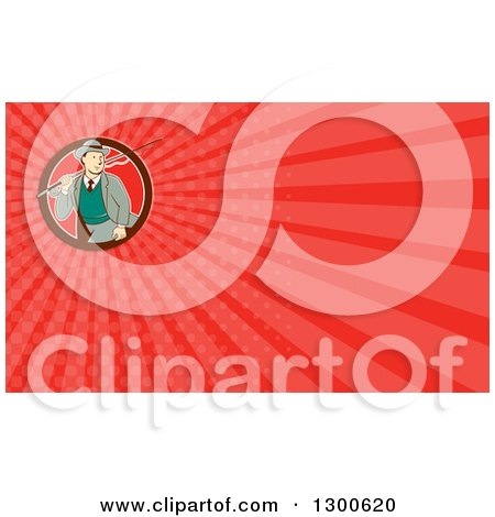 Clipart of a Retro Cartoon White Man Walking with a Fishing Pole and Red Rays Background or Business Card Design - Royalty Free Illustration by patrimonio
