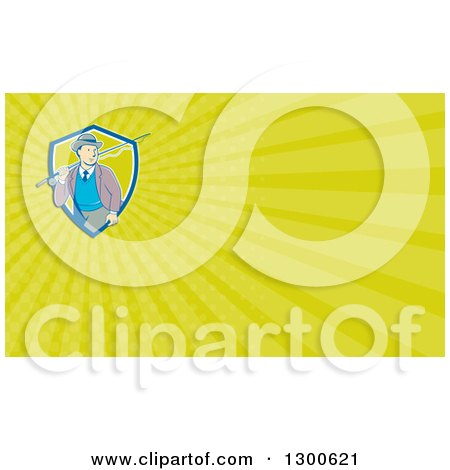 Clipart of a Retro Cartoon White Man Walking with a Fishing Pole and Green Rays Background or Business Card Design - Royalty Free Illustration by patrimonio