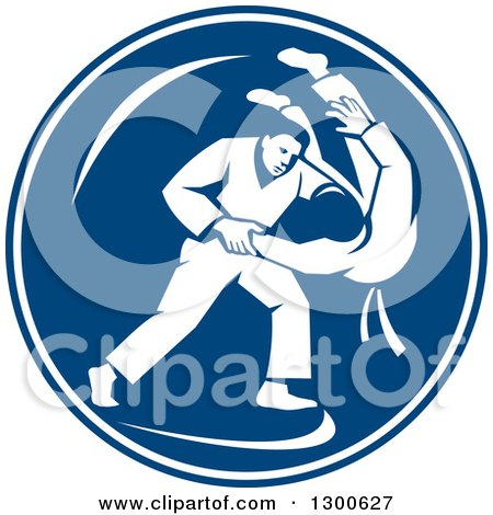 Clipart of Retro Judo Opponents in a Throw Takedown in a Blue and White Circle - Royalty Free Vector Illustration by patrimonio
