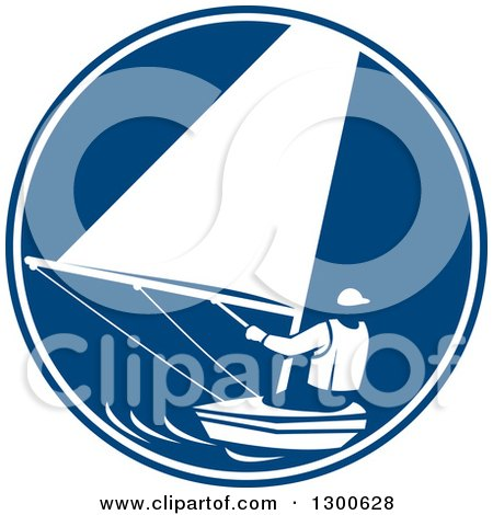 Clipart of a Retro Man Sailing in a Blue and White Circle - Royalty Free Vector Illustration by patrimonio
