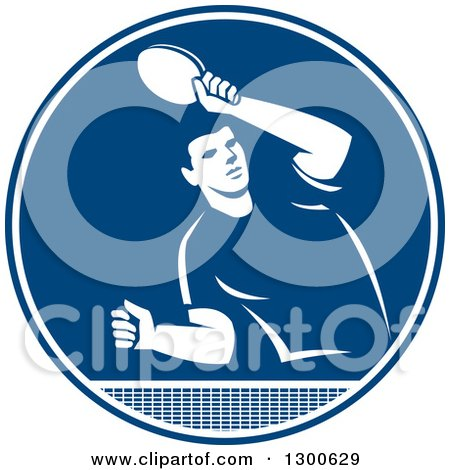 Clipart of a Retro Man Playing Table Tennis in a Blue and White Circle - Royalty Free Vector Illustration by patrimonio
