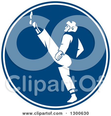 Clipart of a Retro Taekwondo Fighter Kicking in a Blue and White Circle - Royalty Free Vector Illustration by patrimonio