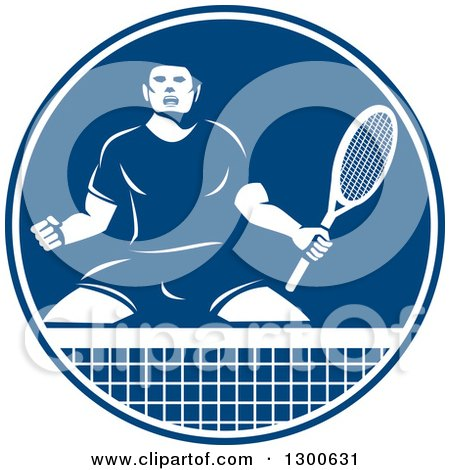 Clipart of a Retro Tennis Player Man in an Aggressive Competitive Stance in a Blue and White Circle - Royalty Free Vector Illustration by patrimonio