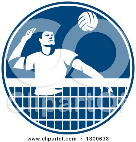 Clipart of a Retro Man Playing Volleyball in a Blue and White Circle - Royalty Free Vector Illustration by patrimonio