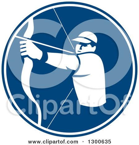 Clipart of a Retro White Silhouetted Archer Aiming a Bow and Arrow in a Blue Circle - Royalty Free Vector Illustration by patrimonio
