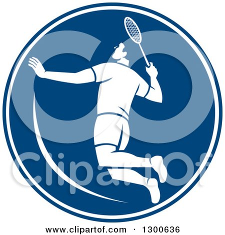 Clipart of a Retro Male Badminton Player Jumping in a Blue and White Circle - Royalty Free Vector Illustration by patrimonio