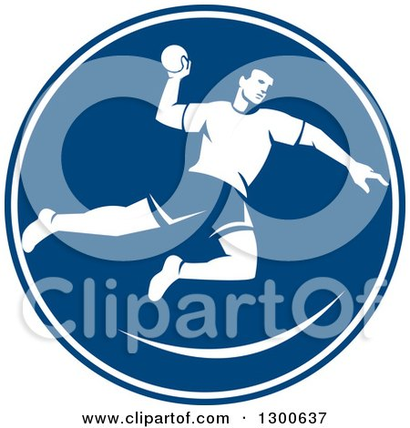 Clipart of a Retro Male Jumping Handball Player in a Blue and White Circle - Royalty Free Vector Illustration by patrimonio