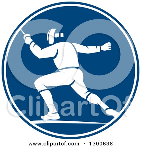 Clipart of a Retro Man Fencing in a Blue and White Circle - Royalty Free Vector Illustration by patrimonio