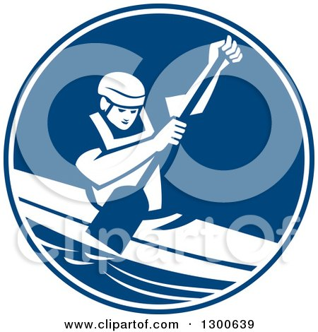 Clipart of a Retro Man Canoeing and Paddling in a Blue and White Circle - Royalty Free Vector Illustration by patrimonio