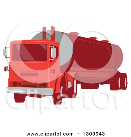 Clipart of a Retro Red Cement Truck Tanker - Royalty Free Vector Illustration by patrimonio