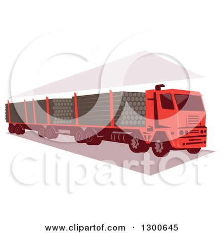 Clipart of a Retro Red Logging Truck - Royalty Free Vector Illustration by patrimonio
